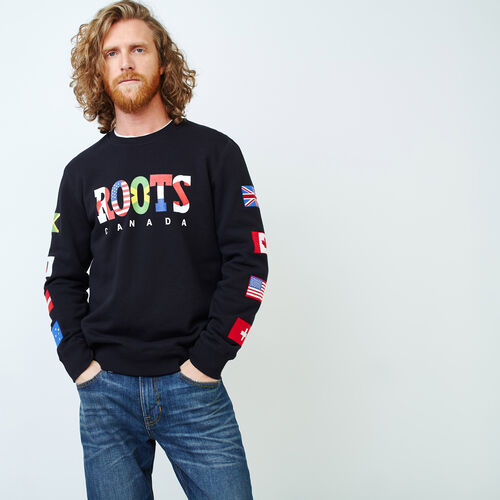 Roots-Men Sweats-Roots Unity Crew Sweatshirt-Black-A