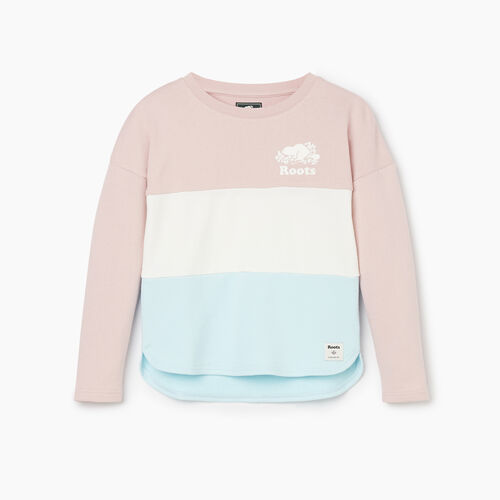 Roots-Kids Girls-Girls Colour Block Sweatshirt-Burnished Lilac-A