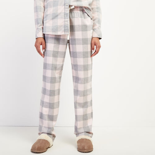 Roots-New For October Plaids-Park Plaid Lounge Pant-Silver Pink-A