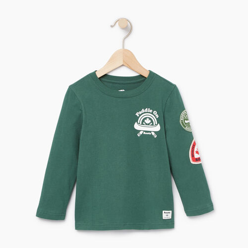 Roots-Kids T-shirts-Toddler Paddle On T-shirt-Hunter Green-A