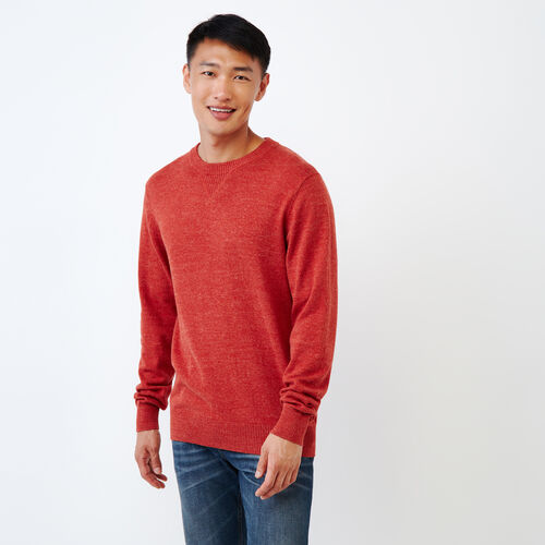 Roots-Men Sweaters & Cardigans-All Seasons Crew Sweater-Tent Red Mix-A
