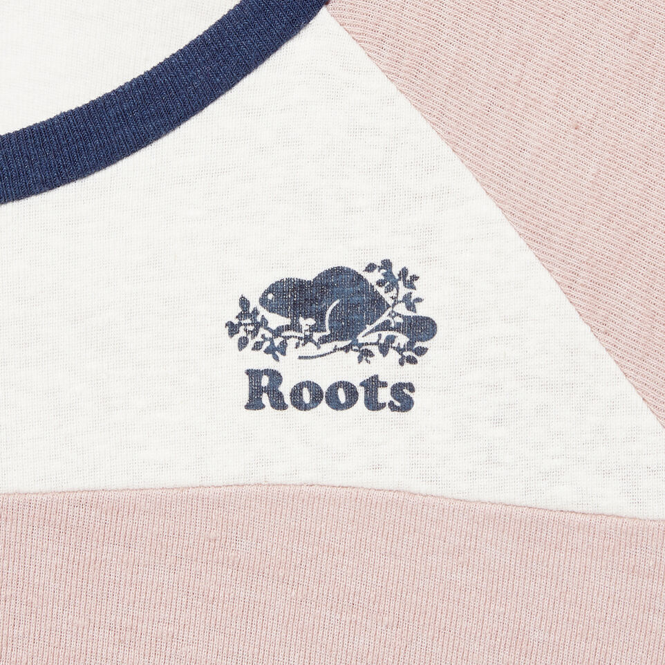 Roots-New For March Daily Offer-Womens Colour Blocked Baseball T-shirt-Sargasso Sea-D