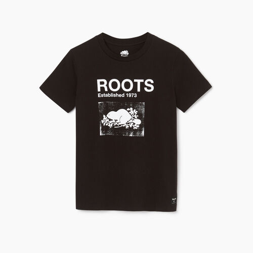 Roots-Clearance Tops-Womens Canmore T-shirt-Black-A