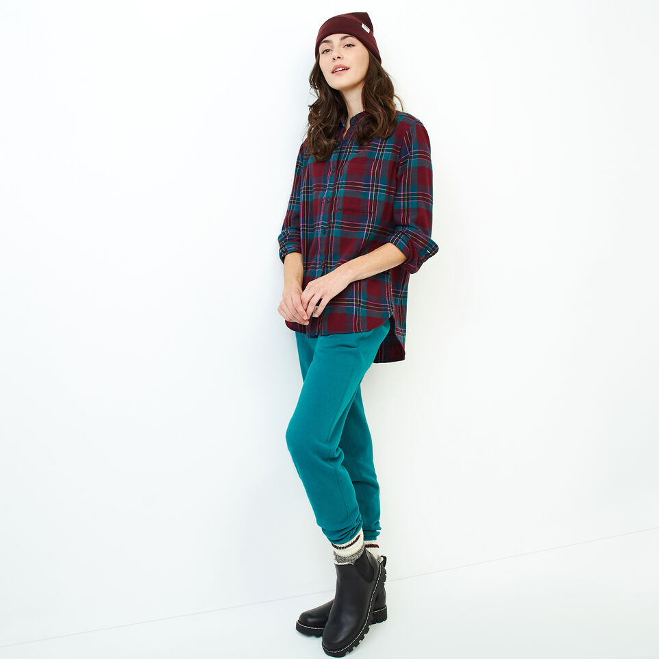 Roots-Women Clothing-Relaxed Flannel Shirt-Crimson Mix-B