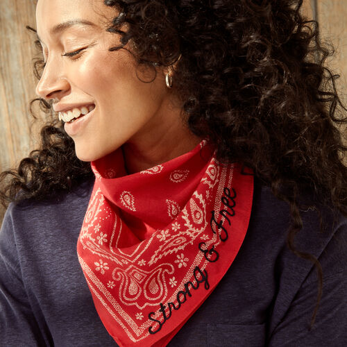 Roots-Women Accessories-Strong And Free Bandana-Red-A