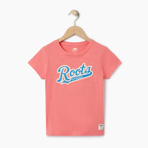 Roots-Clearance Kids-Girls Roots Script T-shirt-Coral-A