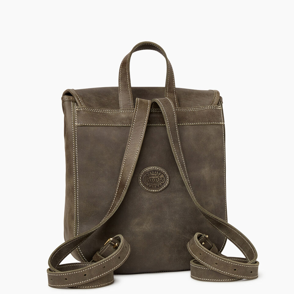 Roots-Leather New Arrivals-Little Nells Backpack-Pine-C