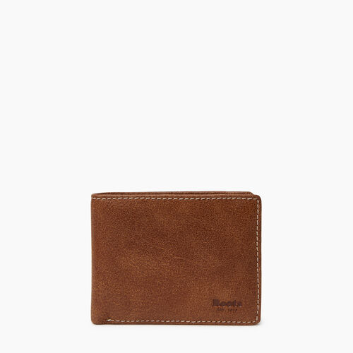 Roots-Leather Our Favourite New Arrivals-Mens Slimfold Wallet With Coin Pocket Tribe-Natural-A