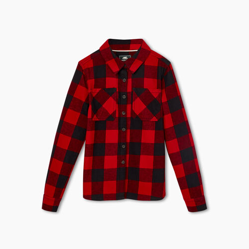 Roots-New For November Kids-Girls Park Plaid Flannel Shirt-Cabin Red-A