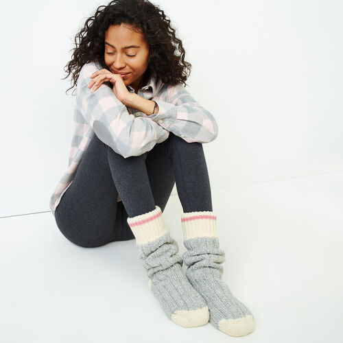 Roots-Women Socks-Roots Cabin Lounge Sock-Grey Mix-A