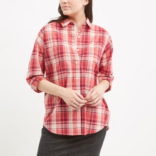 Roots-Women Tops-Arria Madras Plaid Shirt-Spiced Coral-A