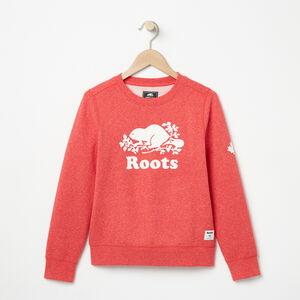 Roots-Kids New Arrivals-Girls Cooper Roots Crew-Tomato Mix-A