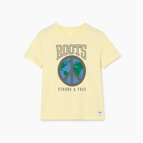 Roots-Kids New Arrivals-Boys Roots Raiders Peace T-shirt-Mellow Yellow-A