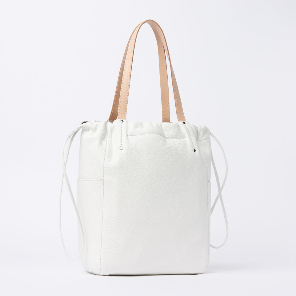 Roots-Winter Sale Leather-Drawstring Tote Prince-White-A