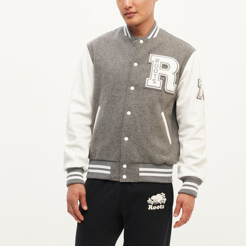 Roots-Leather Categories-Vintage Award Jacket-Grey-A