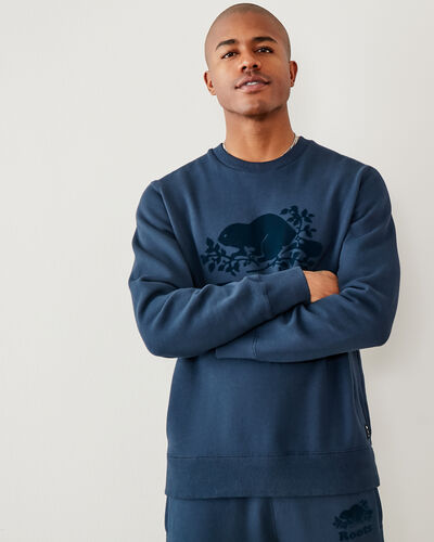 Roots-Men Sweatshirts & Hoodies-Tonal Cooper Beaver Crew Sweatshirt-Navy Blazer-A