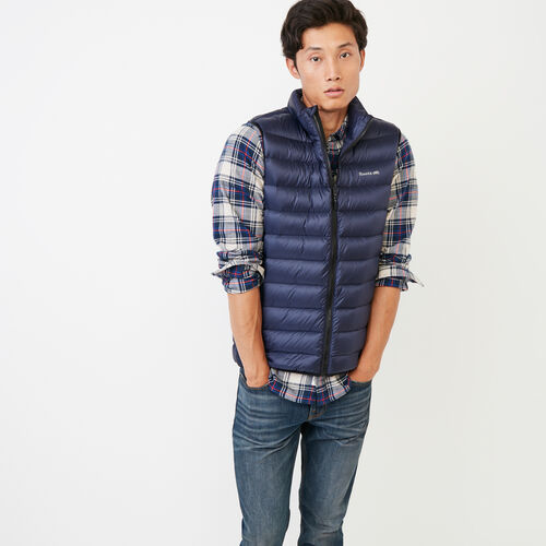 Roots-New For October Packable Jackets-Roots Packable Down Vest-Navy Blazer-A