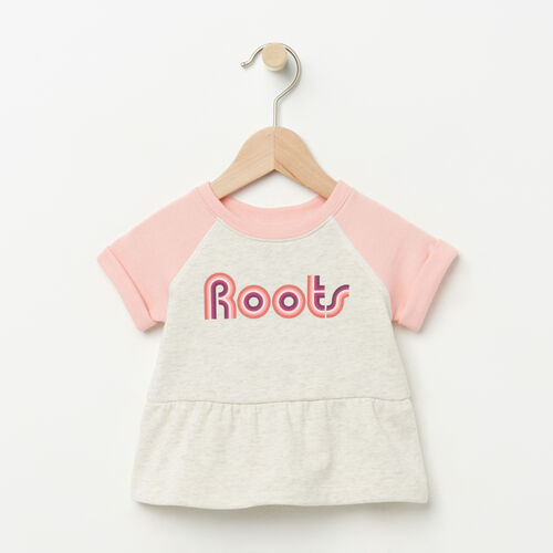 Roots-Kids Baby-Baby Short Sleeve Peplum Crew-White Grey Mix-A