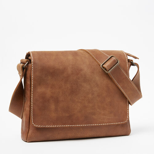 Roots-Leather  Handcrafted By Us Collections-Jr Raiders Bag Tribe-Natural-A