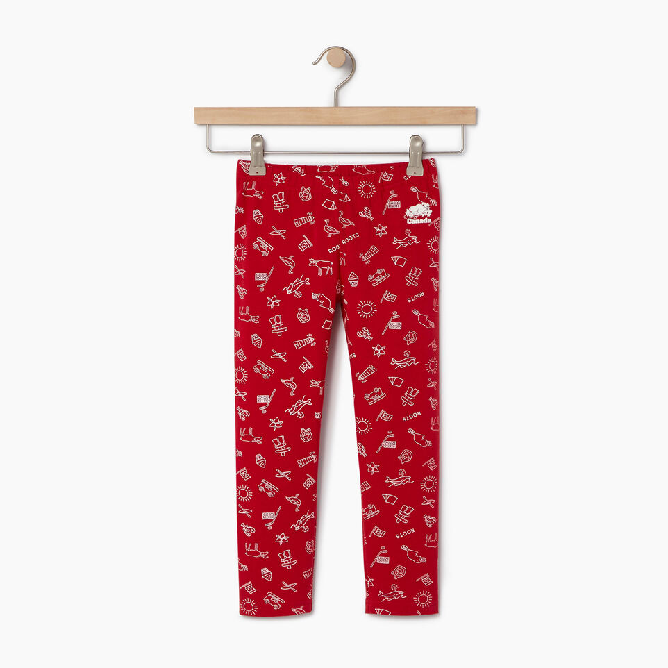 Roots-Clearance Kids-Girls Canada Aop Legging-Sage Red-A