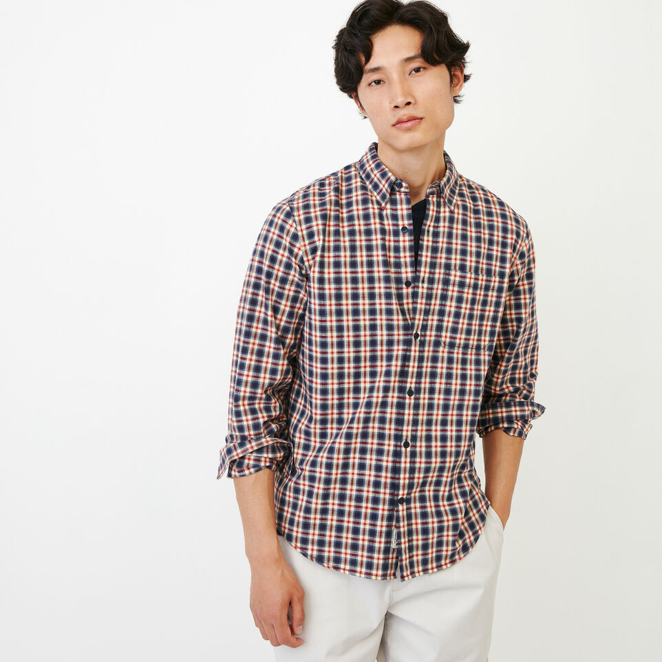 Roots-Men Our Favourite New Arrivals-Windermere Long Sleeve Shirt-Sage Red-A