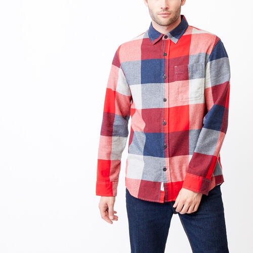Roots-Men Tops-Redrock Flannel Shirt-Cascade Blue Mix-A