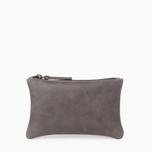 Roots-Leather Leather Accessories-Medium Zip Pouch Tribe-Charcoal-A