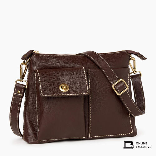 Roots-Leather Crossbody-The Villager Cervino-Chocolate-A