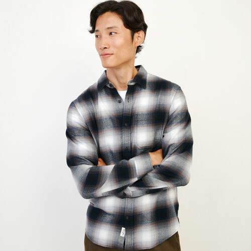 Roots-Clearance Tops-Wallace Flannel Shirt-Forged Iron-A