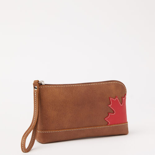 Roots-New For May Leather-Maple Leaf Funky Zip Pouch Tribe-Natural-A