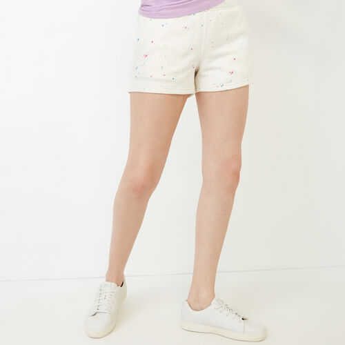 Roots-Women Shorts & Skirts-Splatter Sweatshort-Cannoli Cream-A