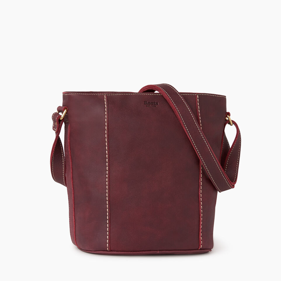 Roots-Women Leather-Victoria Bucket-Crimson-A