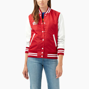 Roots-Women New Arrivals-Womens Retro Varsity Jacket-Red-A