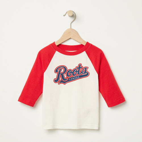 Roots-Kids T-shirts-Toddler Dorval Baseball Top-Pristine White-A