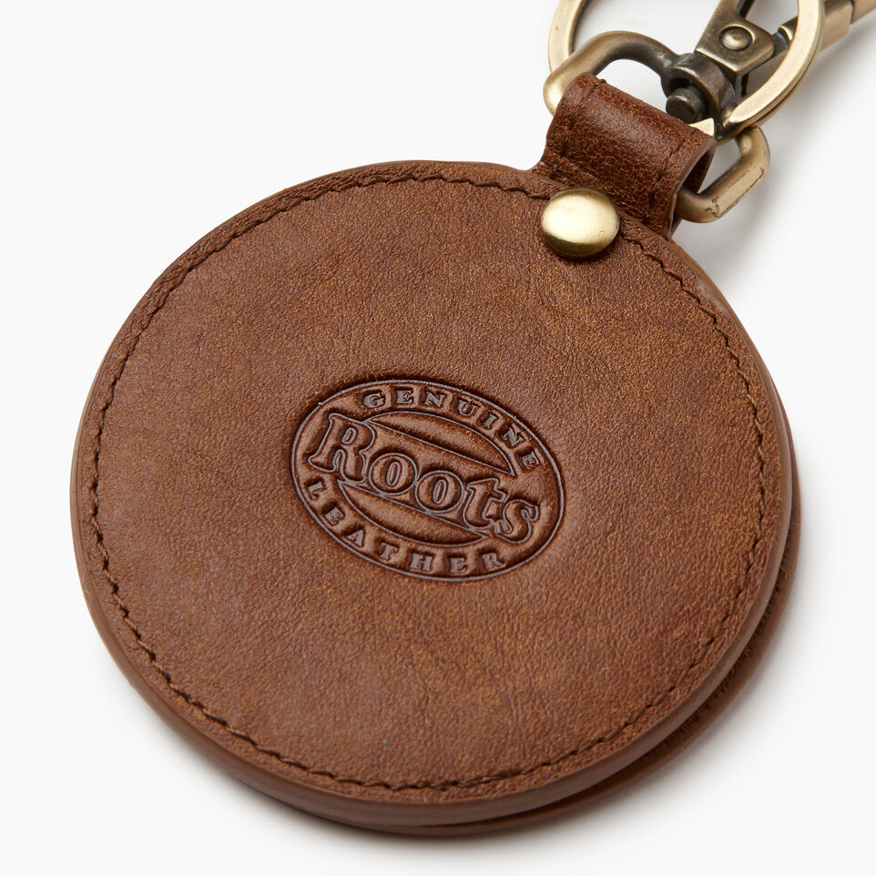 Roots-Women Leather Accessories-Mirror Key Ring-Natural-B