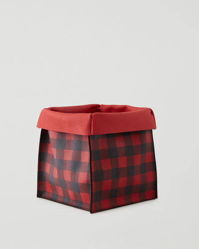 Roots-Leather Leather Accessories-Park Plaid Large Basket Cervino-Cabin Red-A