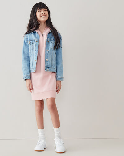 Roots-Kids Girls-Girls Dockside Hooded Dress-Pale Mauve-A