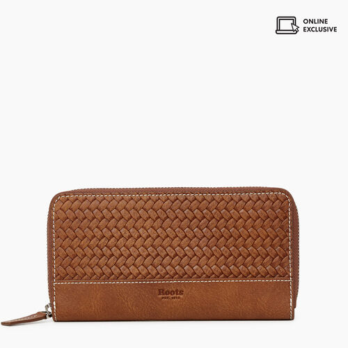 Roots-Leather Wallets-Zip Around Clutch Woven-Natural-A