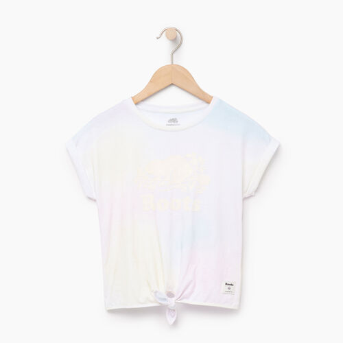 Roots-Kids Tops-Girls Watercolour Tie T-shirt-Ivory-A