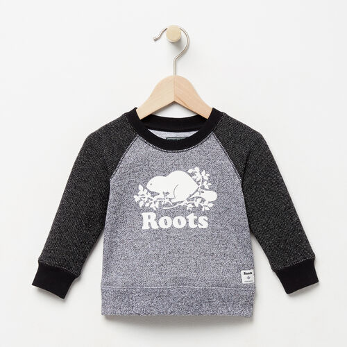 Roots-Clearance Baby-Baby Original Crewneck Sweatshirt-Black Pepper-A