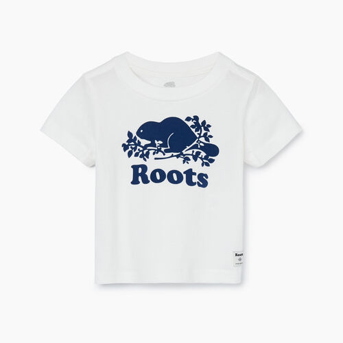 Roots-Kids New Arrivals-Baby Original Cooper Beaver T-shirt-Ivory-A