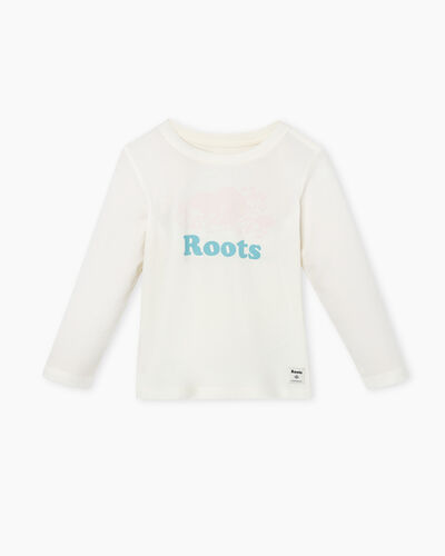 Roots-Kids Tops-Toddler Original Cooper Beaver T-shirt-Egret-A