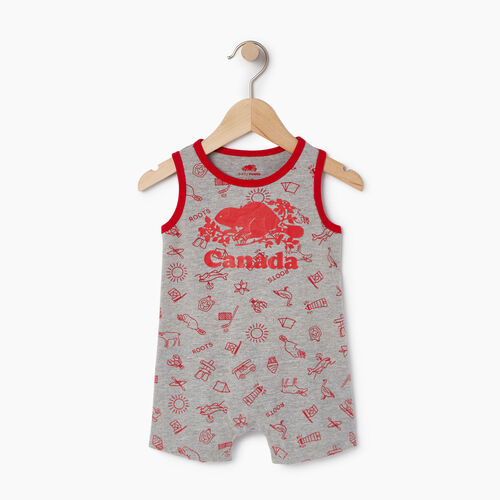 Roots-Kids Rompers & Onesies-Baby Canada Aop Romper-Grey Mix Pepper-A