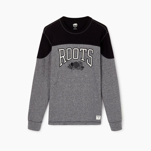 Roots-Men Tops-Mens Messier Long Sleeve T-shirt-Salt & Pepper-A