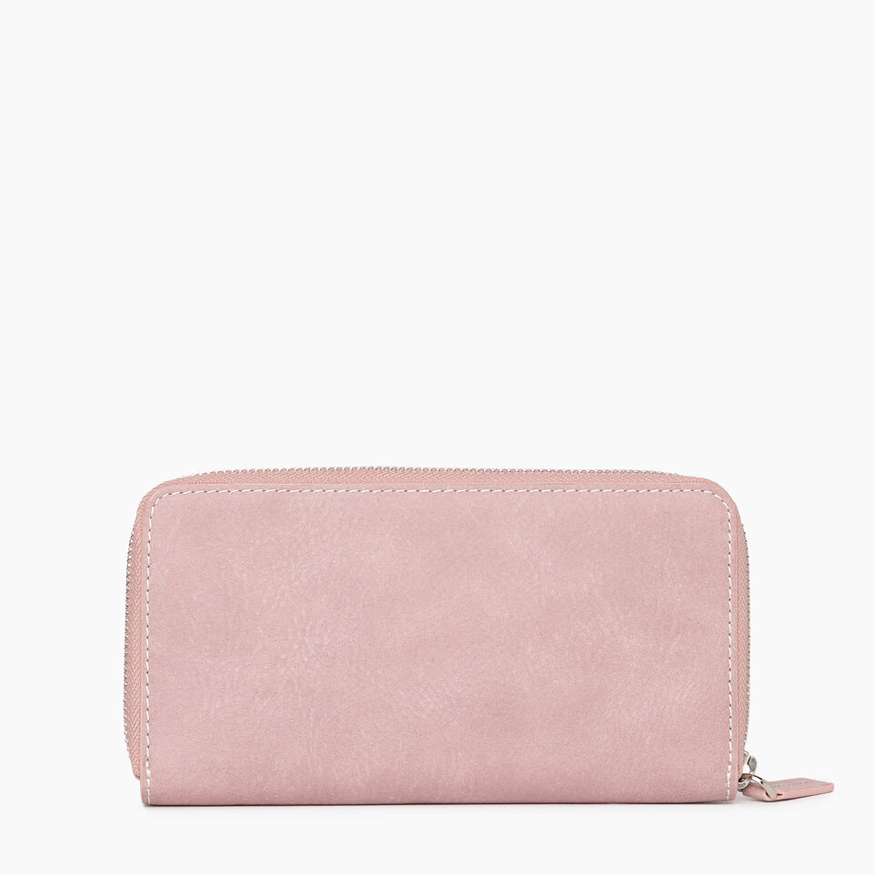 Roots-Leather Categories-Zip Around Clutch Tribe-Woodrose-B
