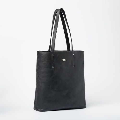 Roots-Leather Totes-Large Downtown Tote Tribe-Jet Black-A