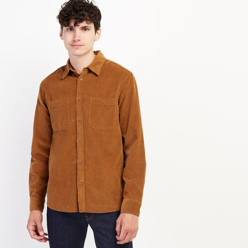 Roots-Men Clothing-Cord Work Shirt-Treehouse Brown-A