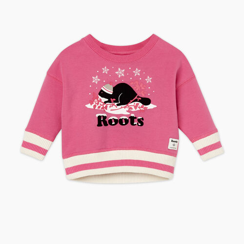 Roots-Gifts Buddy The Beaver-Baby Buddy Cozy Crew Sweatshirt-Carmine Rose-A