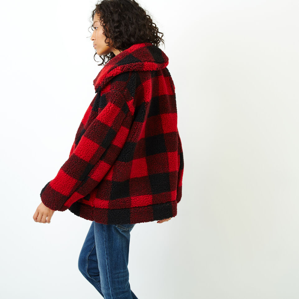 Roots-Women Our Favourite New Arrivals-Park Plaid Sherpa Jacket-Lodge Red-C