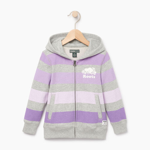 Roots-Kids Toddler Girls-Toddler Ombre Stripe Full Zip Hoody-Grey Mix-A